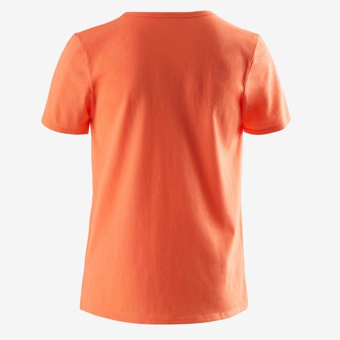 Camiseta de Manga Corta Gimnasia Domyos 100 Niño Naranja