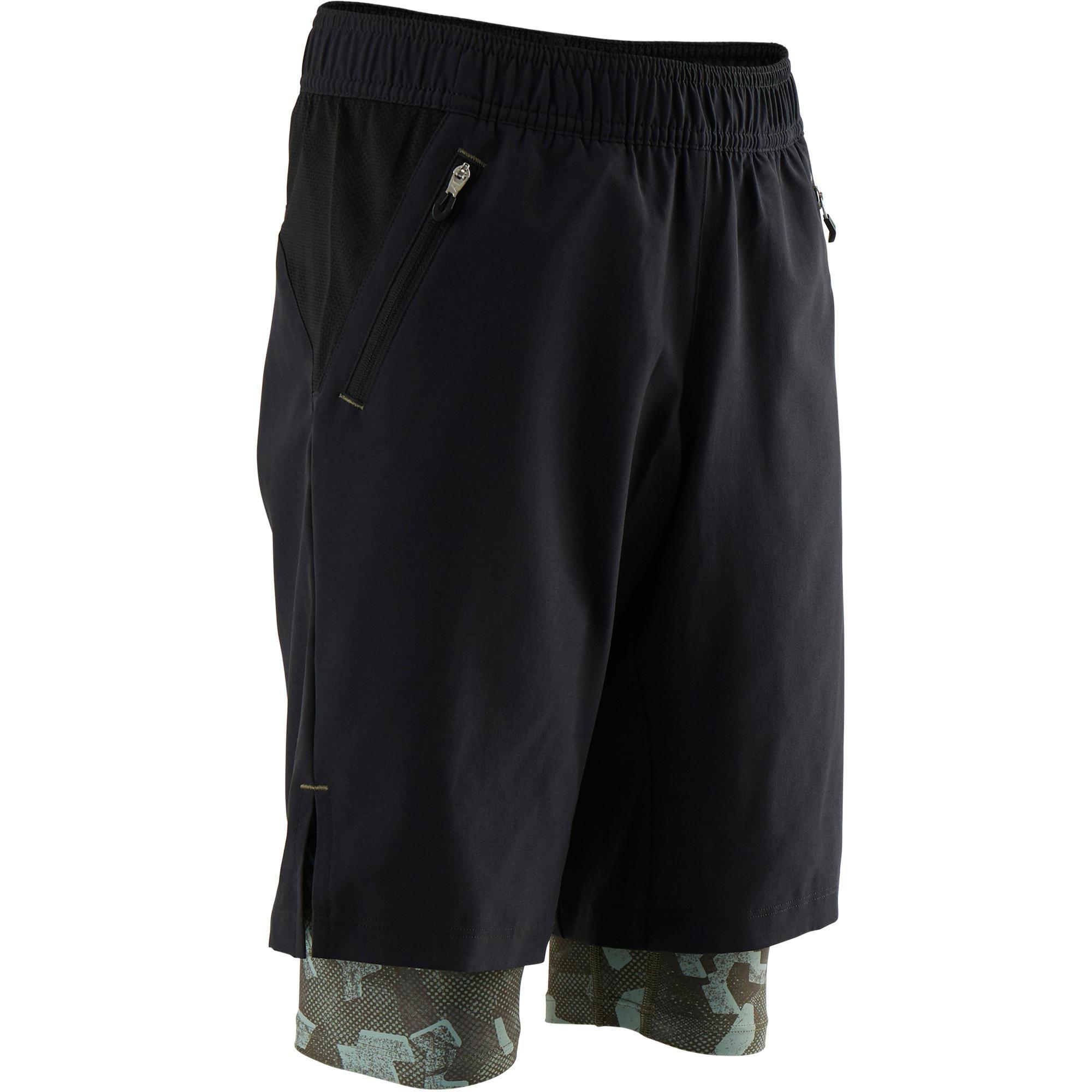 Sporthose kurz doppelt atmungsaktiv S900 Gym Kinder schwarz