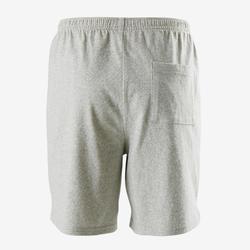 Recyclede short voor gym jongens 100 gemêleerd lichtgrijs/opdruk