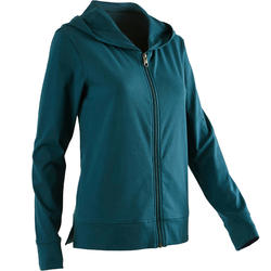100 Women's Hooded Pilates Gentle Gym Jacket - Blue