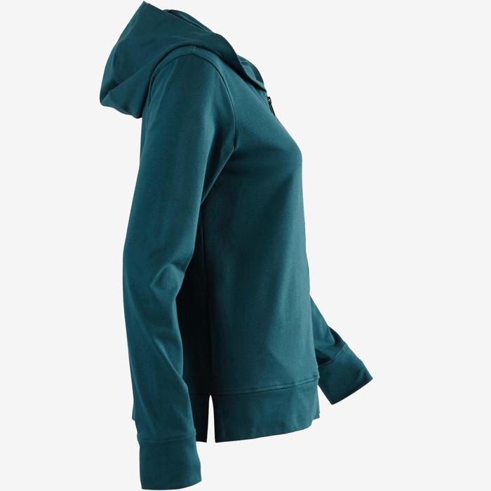 Hoodie 100 voor pilates en lichte gym dames petrolblauw