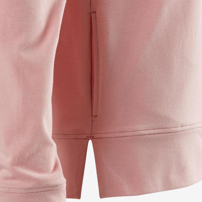 Dameshoodie met rits voor pilates en zachte gym 100 roze
