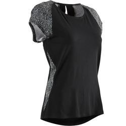 女款皮拉提斯與溫和健身T恤520 - 黑色