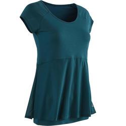 Camiseta Manga Corta Gimnasia Y Pilates Domyos 530 Suave Mujer Azul Oscuro