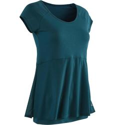 T-shirt 530 pilates en lichte gym dames petroleumblauw