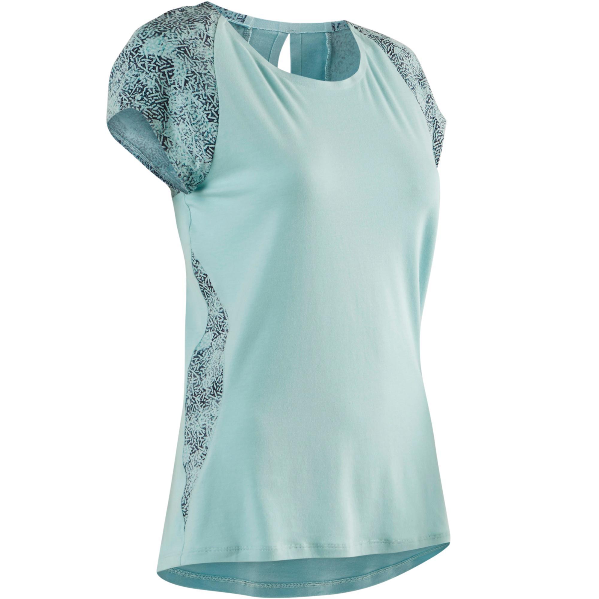 Domyos T-shirt 520 pilates en lichte gym dames lichtblauw