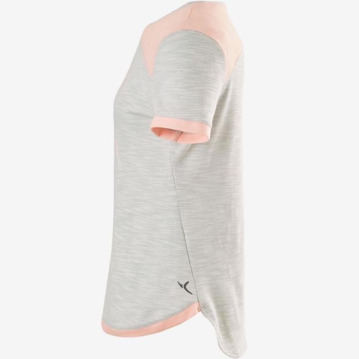 女童透氣棉質健身短袖T恤500 - 灰色/粉色印花