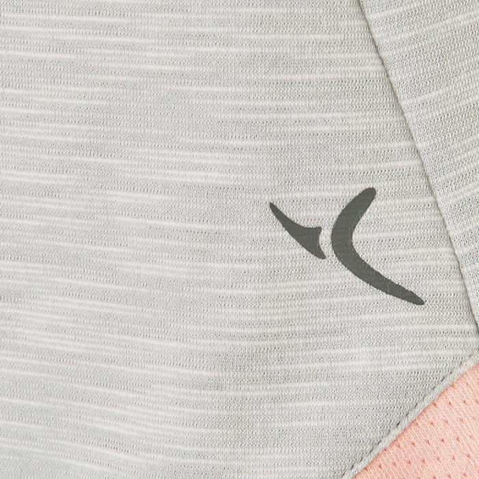 T-Shirt manches courtes coton respirant 500 fille GYM ENFANT gris rose imprimé