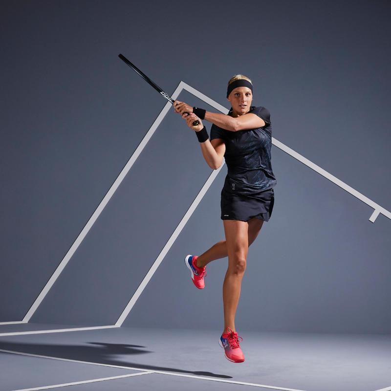 เสื้อยืดใส่เล่นเทนนิสสำหรับผู้หญิงรุ่น TS Soft 500 (สีดำ)