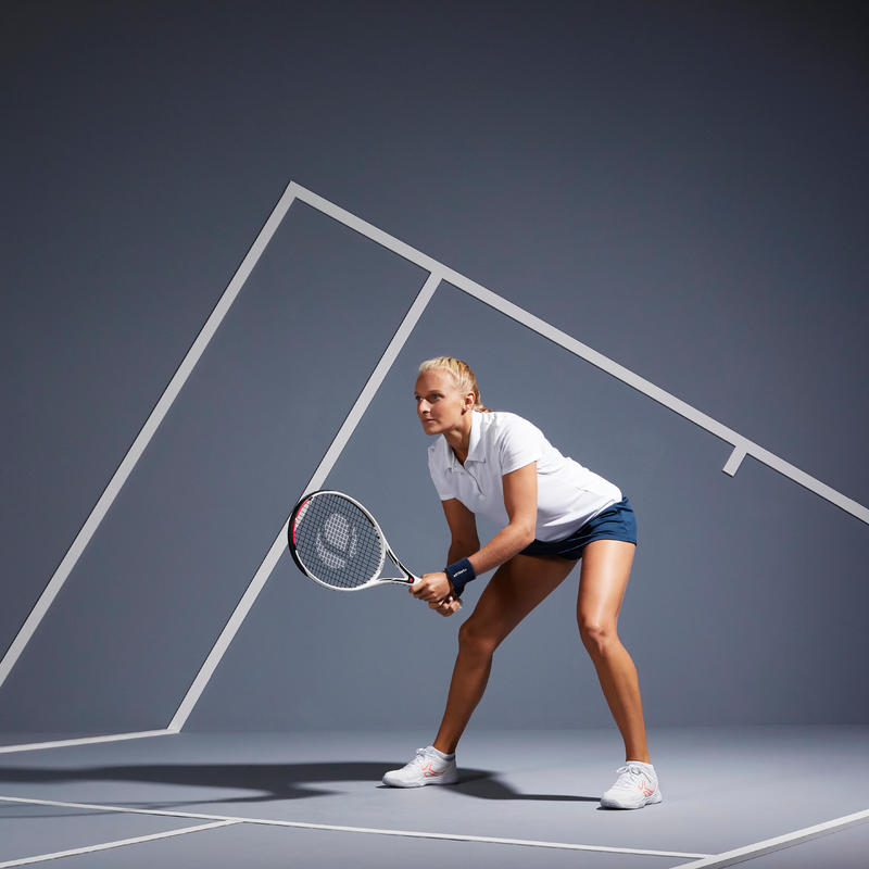เสื้อโปโลผู้หญิงสำหรับใส่เล่นเทนนิสรุ่น Essential 100 (สีขาว)