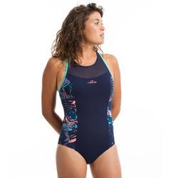 Bañador Aquafitness Piscina Nabaiji Lena Mujer Escote con Transparencias Azul