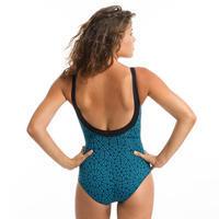 Maillot de bain une pièce femme gainant de gymnastique aquatique Karli Lace bleu