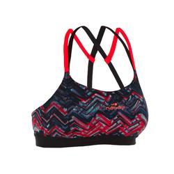 Bikinitop voor aquafitnes dames Meg Ron zwart/rood