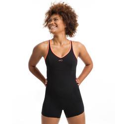 Dames badpak voor aquafitness shortymodel combishort Lou zwart