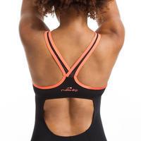 Women's Aquafitness One-Piece Shorty Swimsuit Lou - Black Orange