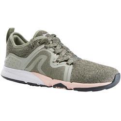 Damessneakers voor sportief wandelen PW 540 Comfort kaki/roze
