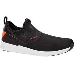 男款健走鞋Slip-On PW 160-黑色/橘色