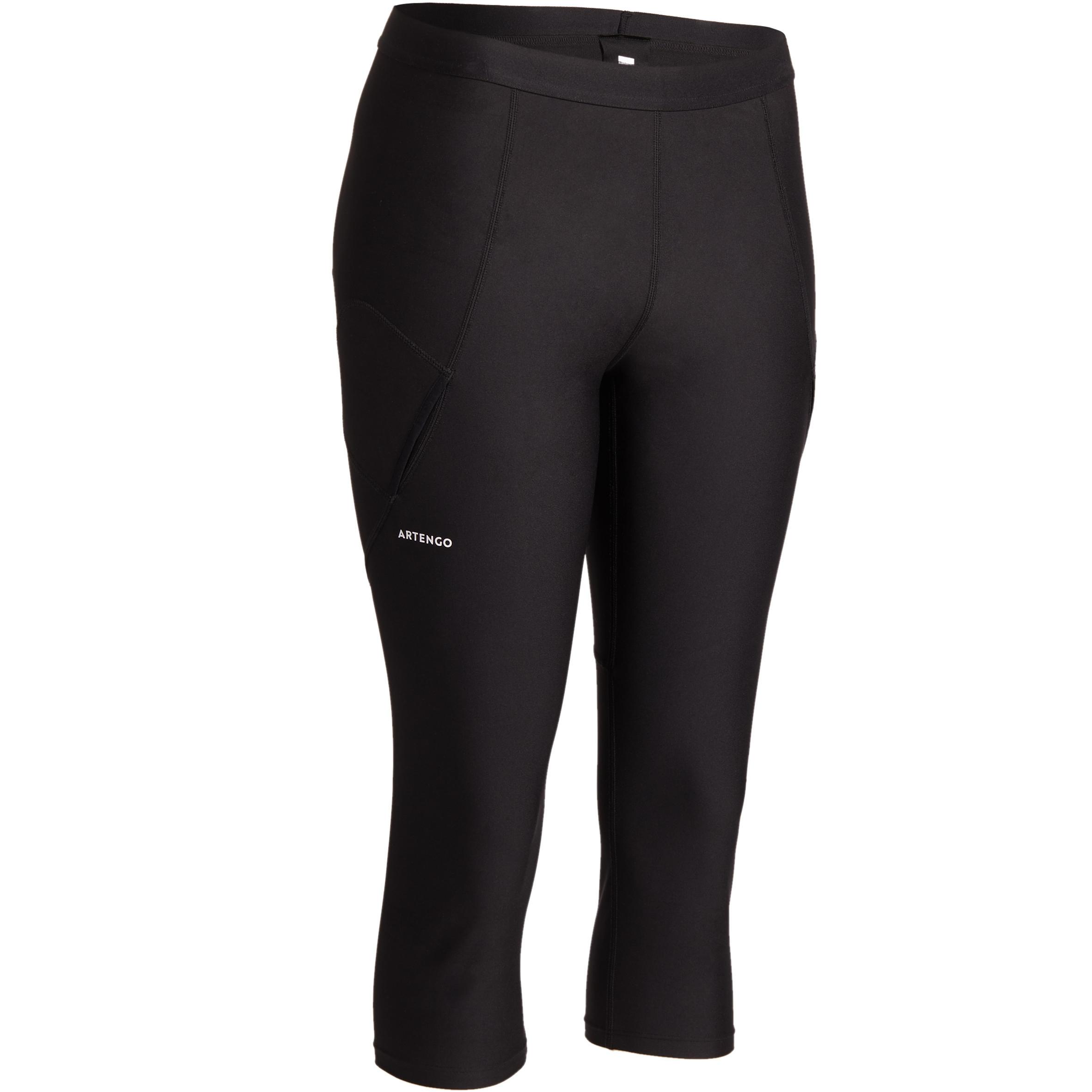 Tennishose 3/4-Leggings 900 Damen schwarz | Sportbekleidung > Sporthosen > Tennisshorts | Schwarz | Artengo