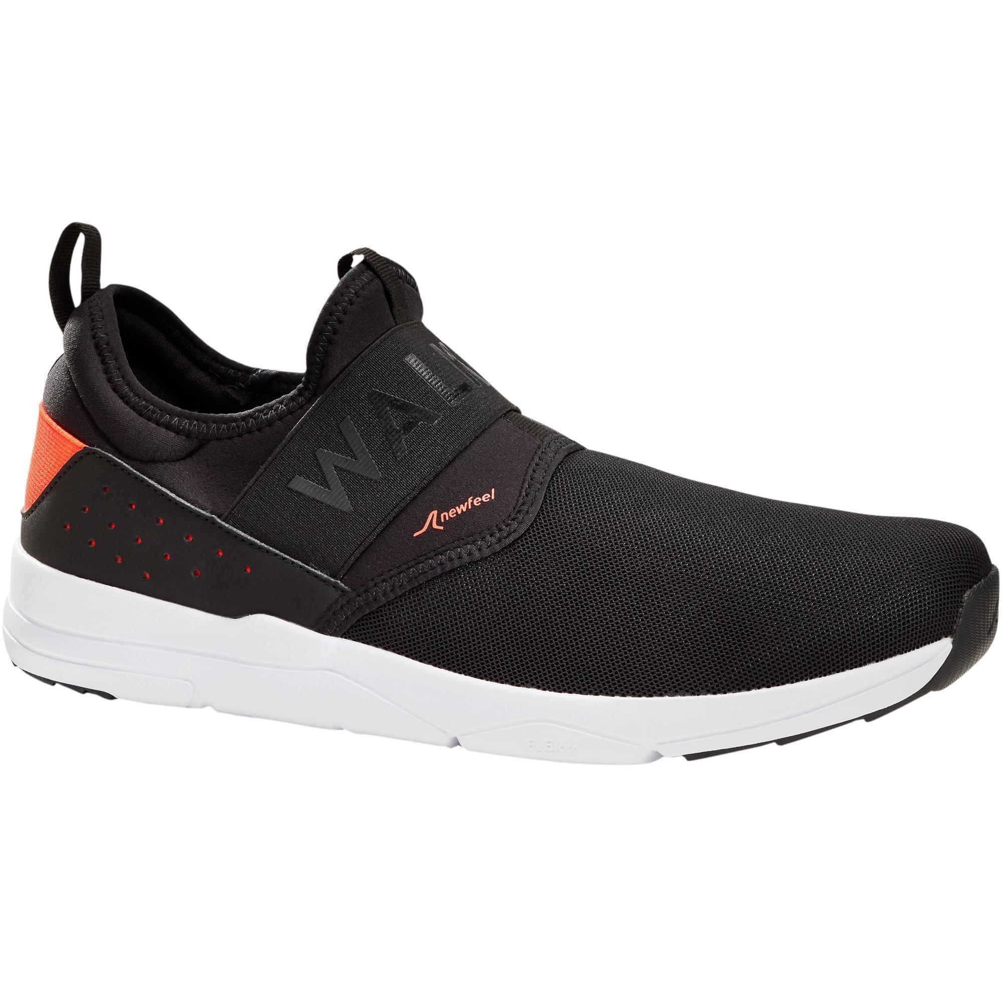 Newfeel Herensneakers voor sportief wandelen PW 160 Slip-On zwart / oranje