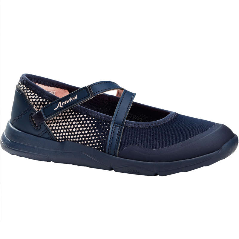 JUNIOR SPORT WALKING SHOES Hiking - PW 160 Br'easy navy NEWFEEL - Outdoor Shoes