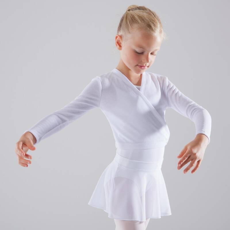 DÍVČÍ TRIKOTY, OBLEČENÍ NA BALET Balet - DÍVČÍ ZAVINOVACÍ BLŮZA BÍLÁ DOMYOS - Balet