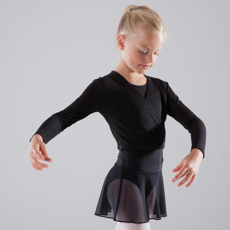 เสื้อบัลเลต์แบบป้ายสำหรับเด็กผู้หญิง (สีดำ)