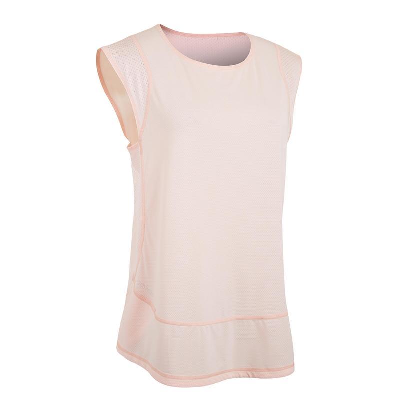 เสื้อยืดผู้หญิงสำหรับคาร์ดิโอรุ่น 500 (สีชมพูอ่อน)