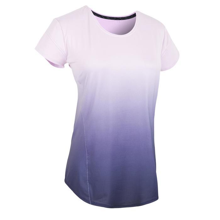 女款有氧健身T恤500-漸層紫