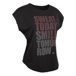 女款有氧健身T恤120-黑色印花