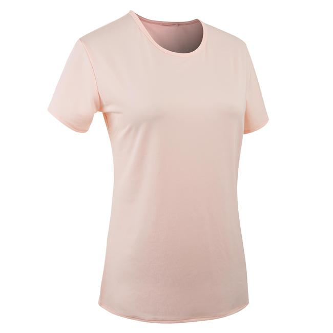 Women's Polyester Round Neck Fitness T-Shirt - Pale Pink