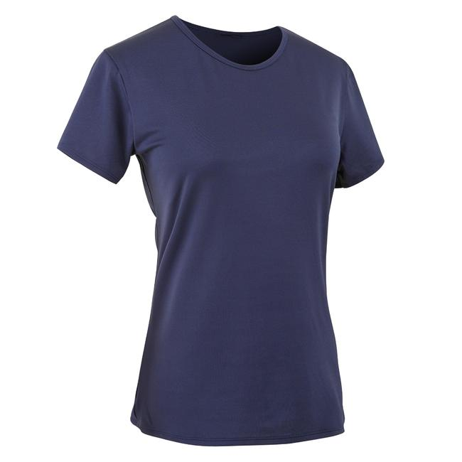 Women's Polyester Round Neck Fitness T-Shirt - Navy Blue