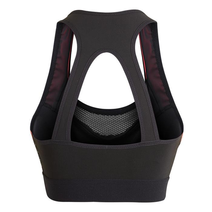 女款有氧健身運動內衣500-黑色/粉紅色