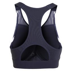 女款有氧健身內衣500-軍藍印花