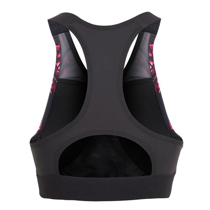 女款有氧健身T恤500-黑色印花