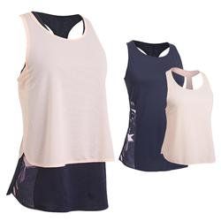 520 Women's 3-in-1 Cardio Fitness Tank Top - Navy Blue/Pale Pink