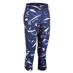 女款有氧健身7/8緊身褲520-軍藍色印花