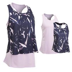 女款3合1有氧訓練健身背心520-紫色印花
