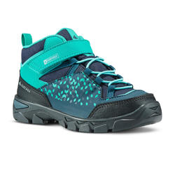 MH120 Mid Kids' High-Necked Rip-Tab Hiking Boots (10 to 2) - Turquoise