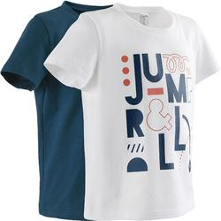 Camiseta Manga Corta Deportiva Gimnasia Domyos 100 Bebé Blanco/Azul Lote X 2