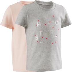 T-shirt met korte mouwen 100 set van 2 grijs/roze