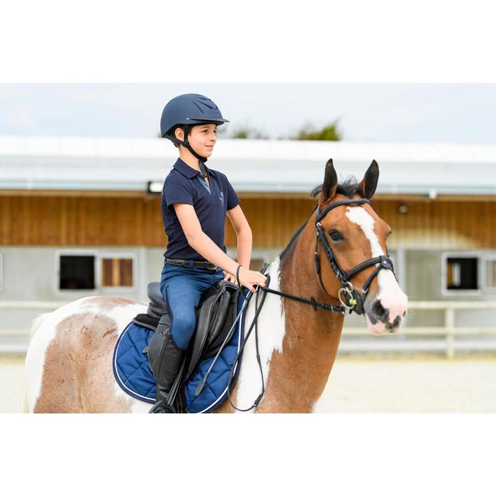 Pantalón Equitación Fouganza 500 Mesh Niño Azul Marino/Turquesa Badana Adherente