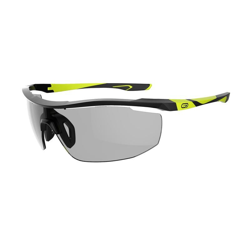 Adult Running Photochromic Glasses Runperf Category 1-3 - black neon yellow