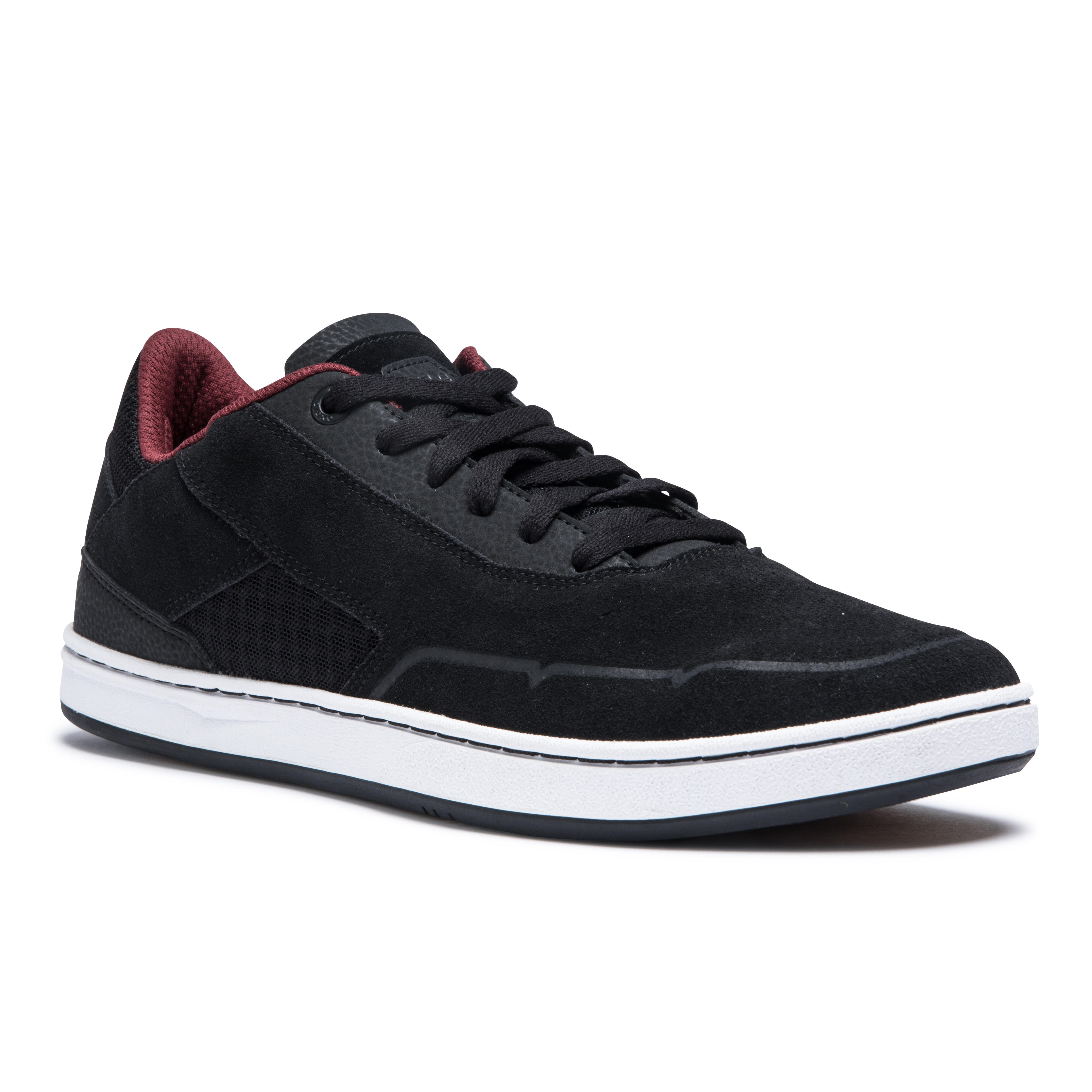 Zapatillas de caña baja de skateboard adulto CRUSH 500 negro/burdeos