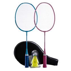 Badmintonschläger BR100 Set Starter Kinder blau/pink