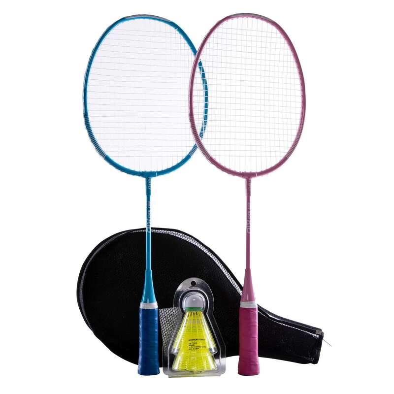 KIDS BADMINTON RACKET Badminton - BR 100 KID SET STARTER BL PK PERFLY - Badminton Rackets