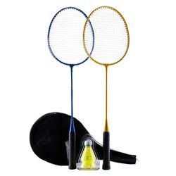 ADULT BADMINTON RACKET BR 100 SET STARTER YELLOW BLUE