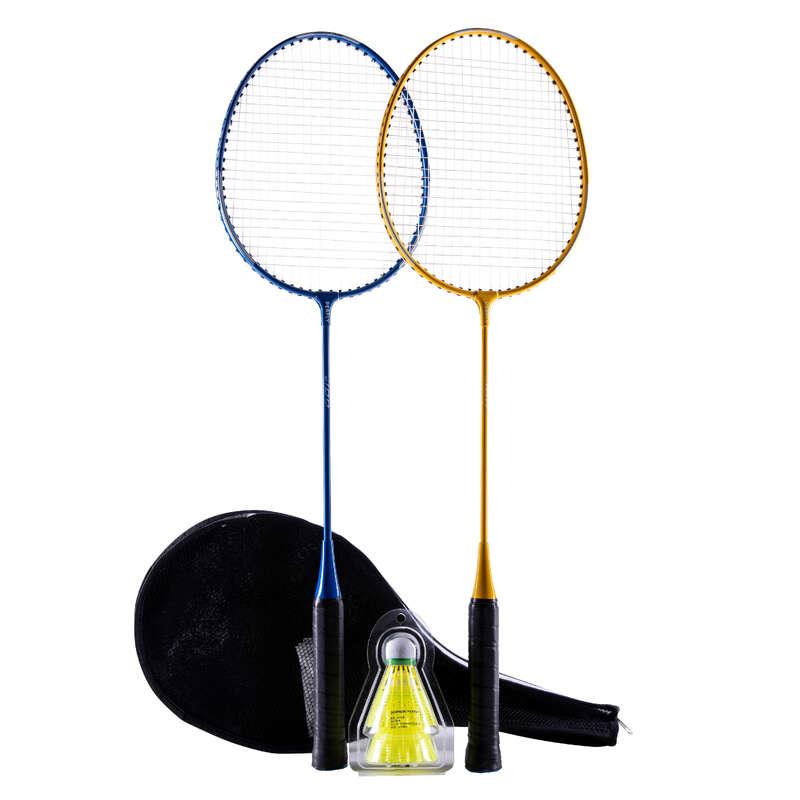 ADULT BEGINNER BADMINTON RACKETS Badminton - BR 100 SET STARTER YELLOW BLUE PERFLY - Badminton Rackets