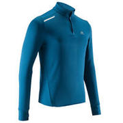Modra moška tekaška majica z dolgimi rokavi RUN WARM