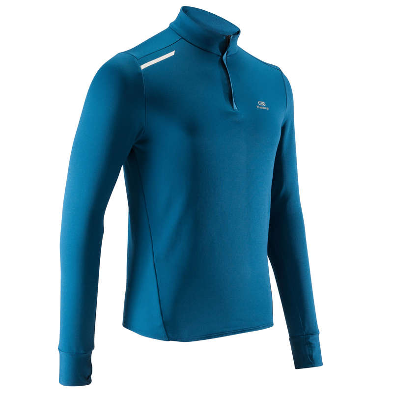 OCCASIONAL MAN JOG COLD WEATHER CLOTHES Clothing - RUN WARM MEN'S LS TS - blue KALENJI - Tops