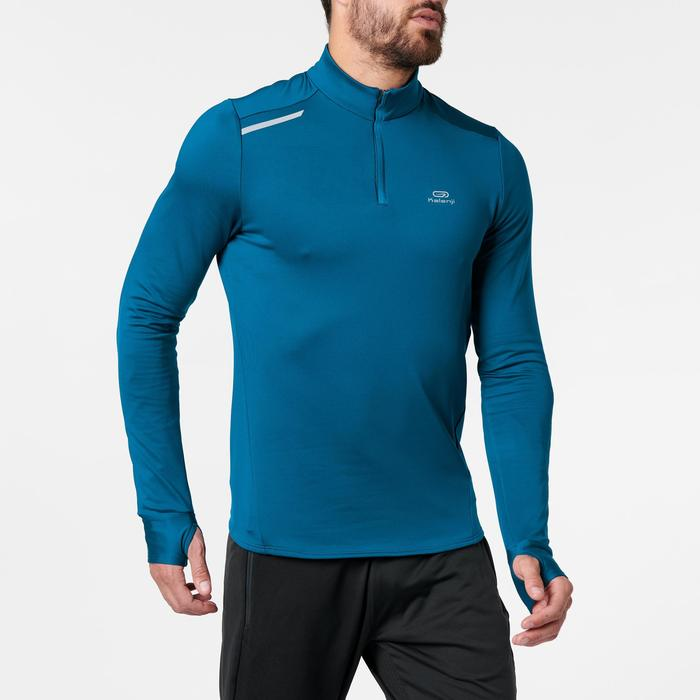 TEE SHIRT MANCHES LONGUES RUNNING HOMME RUN WARM BLEU PETROLE